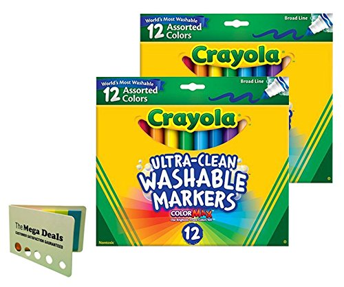 Crayola 12 Ct Ultra-Clean Washable Markers, 2 Pack, Includes 5 Color Flag Set]()