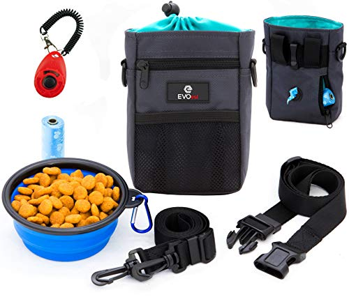 - EVOest Dog Treat Pouch, Training Bag with Dog Training Clicker and Built-in Waste Bags Dispenser,Deluxe Design Perfect Carry Pet Toys & Treats,Waist & Shoulder Strap + Bonus Collapsible Bowl