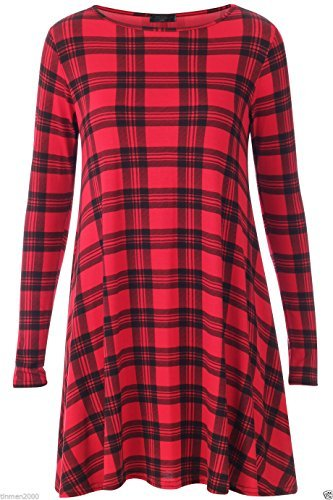 Dolly Tartan à carreaux rouge manches longues Jersey Swing Fashion robe (M/L (12-14))