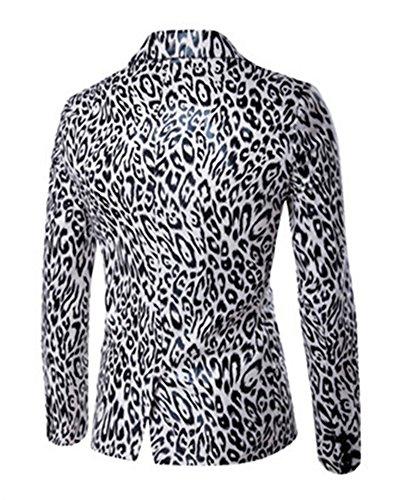 Costume Bouton Homme Slim Veste Leopard Manteau Casual Fit Jacket Un Blazer Blanc 8aq0ZwFU