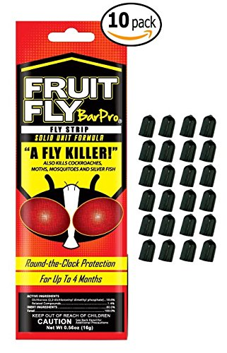 10-Pack of BarPro Control Fruit Fly Strips with 24 MBW NW Brands Bottle Pourer Bug / Dust Caps by MBW NW Brands