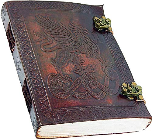 Leather Journal Diary Notebook Vintage Blank Handmade Book Gifts (DRAGON DESIGN 2)