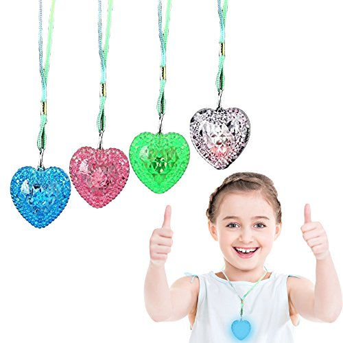 Toy Cubby Flashing Love Heart Necklace with Colorful Strings - 12 (Flashing Heart Necklace)