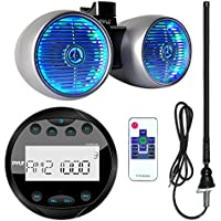 Pyle PLMR91UB Waterproof Bluetooth Marine Guage Style MP3 Media Receiver Bundle Combo With 8 Inch 600 Watt Dual Wakeboard Multi Color LED Light Boat Tower Speakers + Enrock 22 AM/FM Radio Antenna