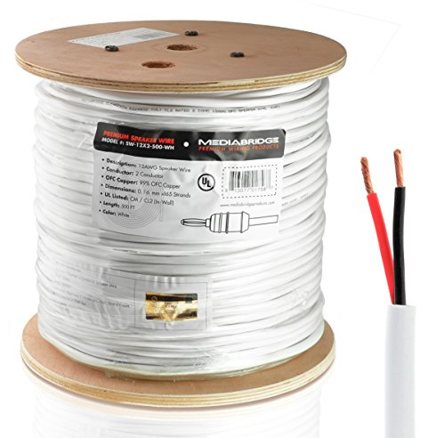 (Mediabridge 12AWG 2-Conductor Speaker Wire (500 Feet, White) - 99.9% Oxygen Free Copper - UL Listed CL2 Rated for In-Wall Use (Part# SW-12X2-500-WH)