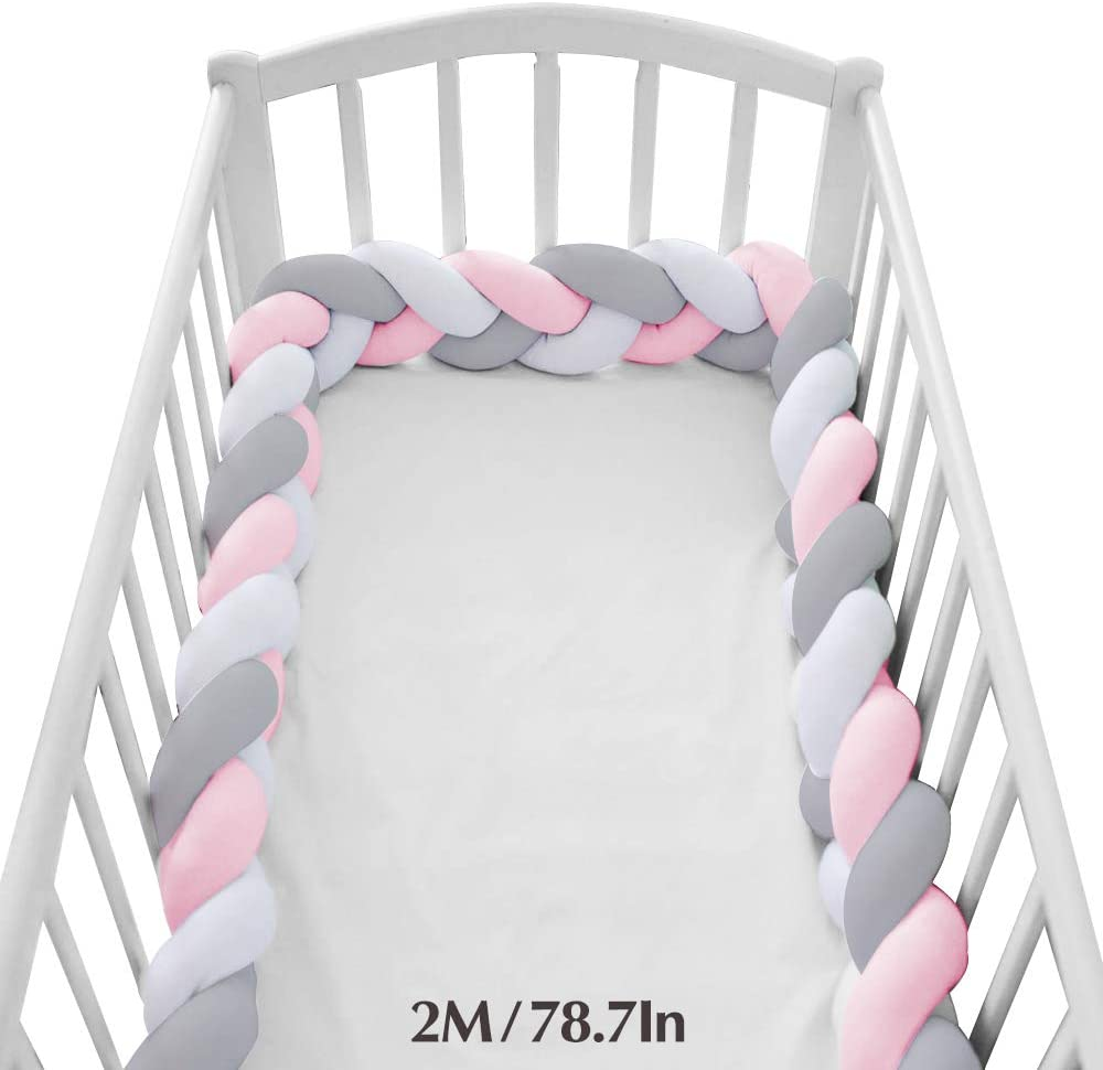 Wonder Space Soft Knot Plush Pillow - Baby Crib Bumper, Fashion Nursery Cradle Decor for Baby Toddler and Childern (Pink/Grey/White, 78.7IN / 2M)