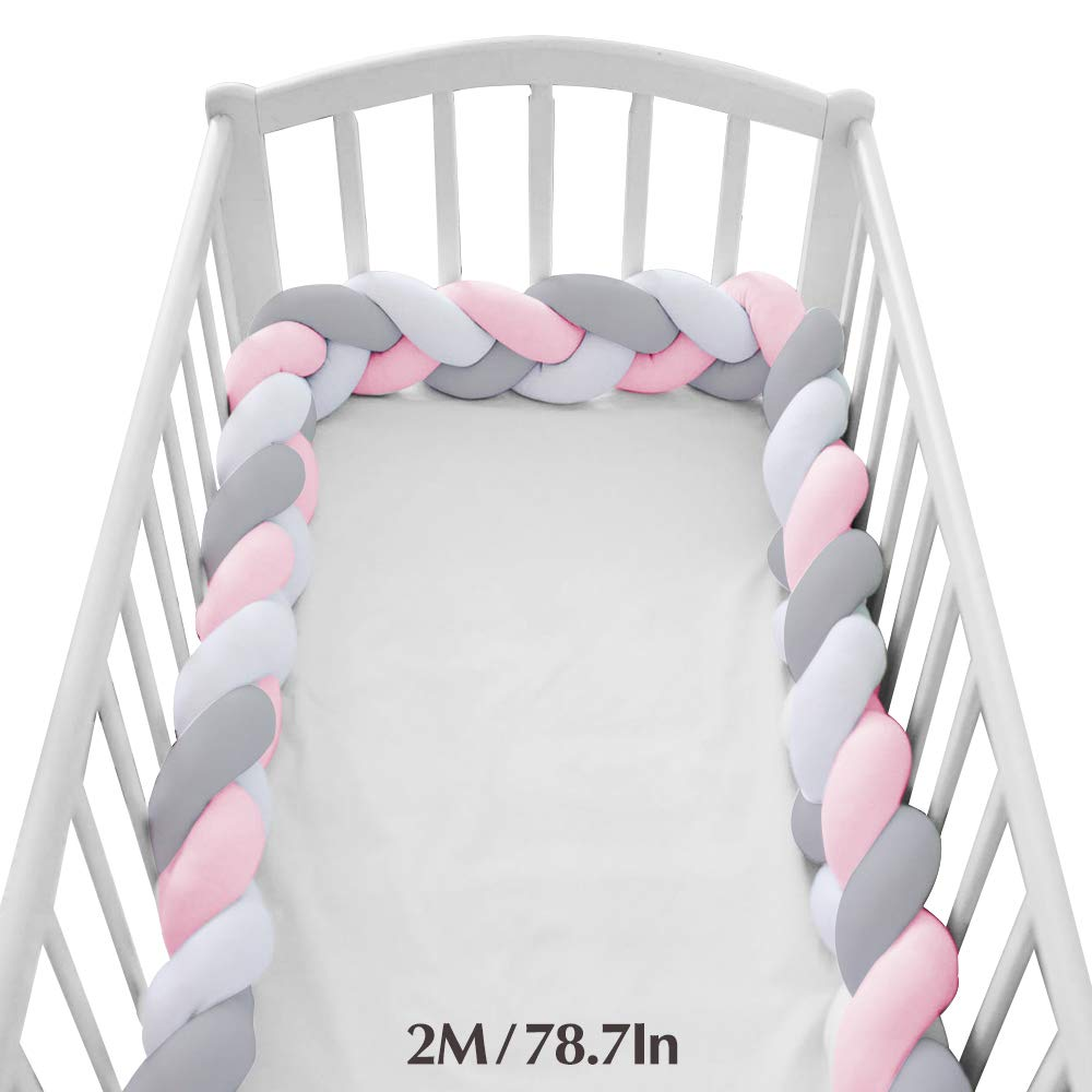 Wonder Space Soft Knot Plush Pillow - Baby Crib Bumper, Fashion Nursery Cradle Decor for Baby Toddler and Childern (Pink/Grey/White, 78.7IN / 2M) by Wonder Space