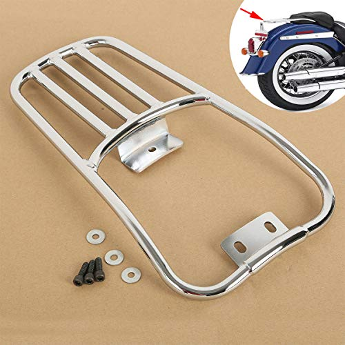 Harley Softail Rear Fender - XFMT Rear Fender Luggage Rack Chrome Compatible with Harley Davidson Softail Deluxe 2006-2018 07