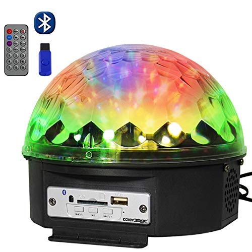 COLORSAGE DJ Disco Ball Lights Bluetooth Stage Light Led Crystal Rotating Ball Strobe Lighting with Remote for KTV Club Home Birthday Wedding Party