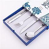 306 stainless steel - 4 Pcs Elegant Oriental Inspiration Silverware Stainless Steel Chopsticks, Fork, Knife & Spoon Set In Gift Box