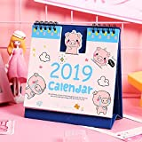 Desk Calendars Standing Tent Calendars Standing Coil Calendar Memo Daily Schedule Table Planner Pig 2019 (Sky Blue)
