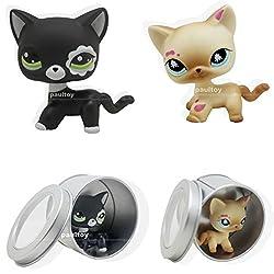 2pcs Littlest Pet Shop RARE Black & Cream Short Hair Cat kitty LPS #2249 #816
