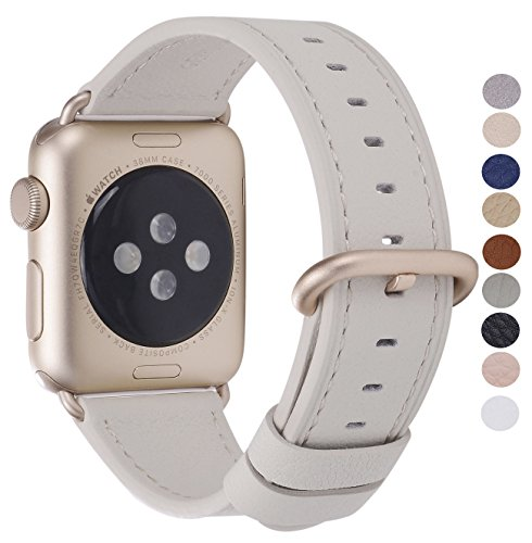 PEAK ZHANG Compatible with Apple Watch Band 38mm 40mm 42mm 44mm Women Men Genuine Leather Replacement Strap with Champagne Gold Adapter and Buckle for iWatch Series 4,3,2,1(Off White,38mm 40mm - Hardware Series Gold All