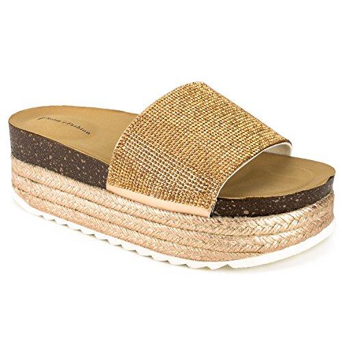 RF ROOM OF FASHION Women's Open Toe Espadrille Lug Sole Summer Slip on Platform Footbed Slides Sandals - ZO11 Rosegold (10) ()