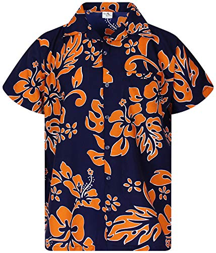 Funky Hawaiian Shirt, Shortsleeve, Hibiscus, Orange on Navyblue, M