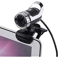 Câmera Webcam HD, USB 2.0 12M Pixels Câmera PC Webcam com suporte giratório HD 360 ° e microfone embutido para desktop ou laptop (prata)