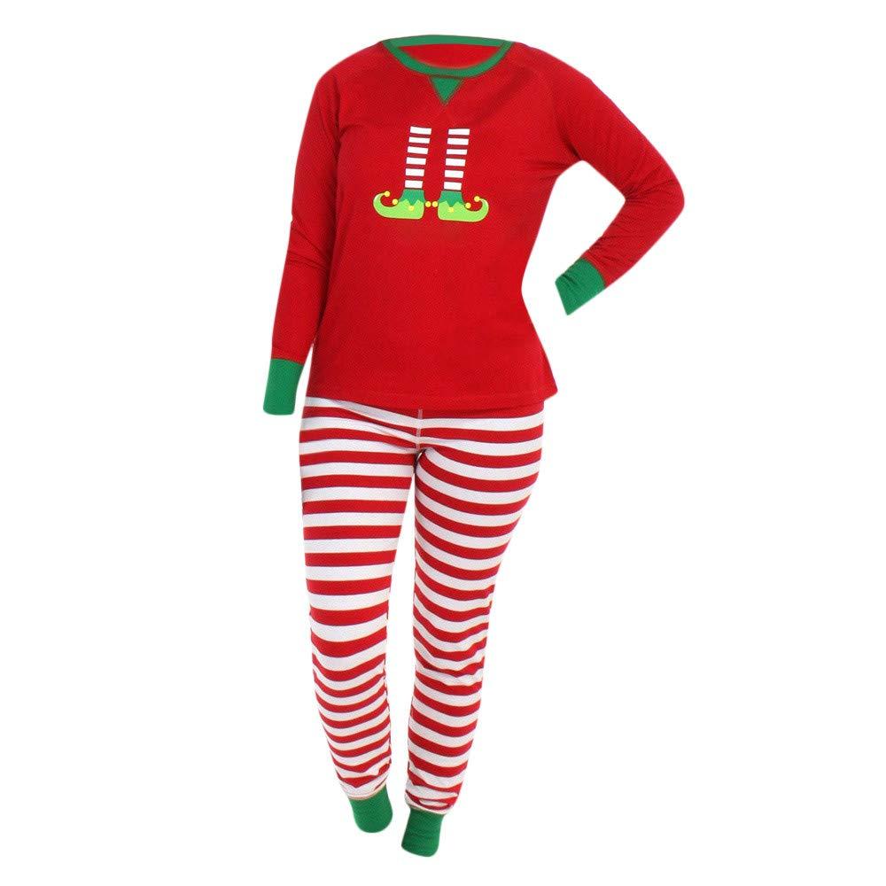 Amphia - Damen Weihnachten Familie Pyjama Set, Frauen Family PJS Matching Christmas Pajamas Set Blouse +Santa Pants