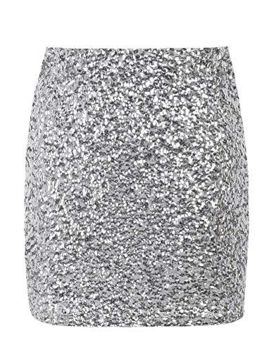 PrettyGuide Women's Sequin Skirt Stretchy Bodycon Shiny Mini Skirt Club Skirt L Silver ()