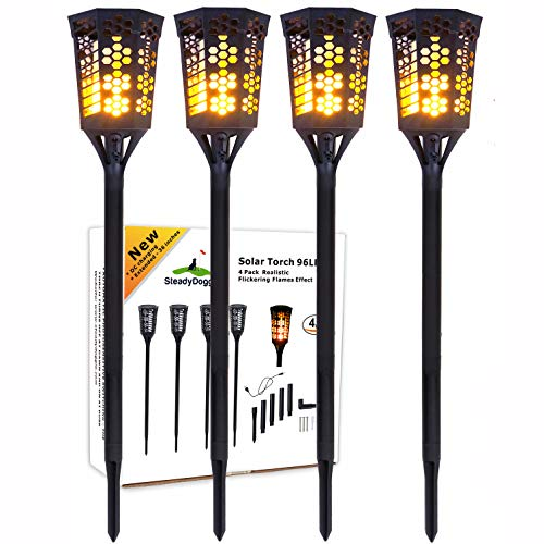 SteadyDoggie Solar Torch Landscaping Light Kit 4 Pack|
