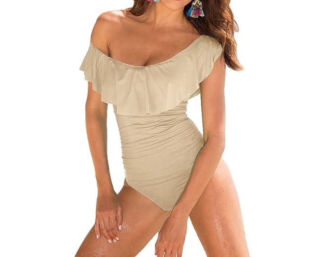 ACVIP Femme Vêtement de Natation Une Pièce Maillot de Bain Epaule Nu Swimwear Beachwear (Chinois M, Rose)