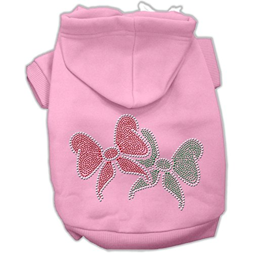 Mirage Pet Products 14-Inch Christmas Bows Rhinestone Hoodie, Large, Pink