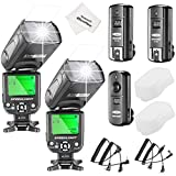 Photo : Neewer NW-561 LCD Screen Flash Speedlite Kit for Canon Nikon and Other DSLR Cameras,include:(2)NW-561 Flash+(1)2.4Ghz Wireless Trigger(1 Transmitter+ 2 Receiver)+(1)Microfiber Cleaning Cloth
