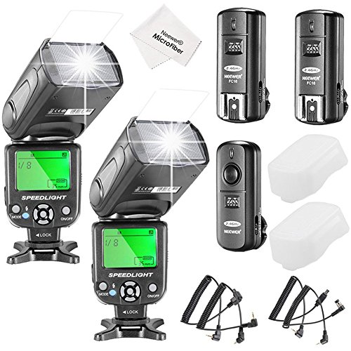 Neewer NW-561 LCD Screen Flash Speedlite Kit for Canon Nikon and Other DSLR Cameras,include:(2)NW-561 Flash+(1)2.4Ghz Wireless Trigger(1 Transmitter+ 2 Receiver)+(1)Microfiber Cleaning Cloth (2.4 Ghz Wireless Kit)