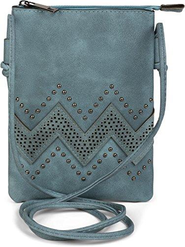 styleBREAKER minibolso de bandolera con motivo recortado en zigzag y remaches, bolso de hombro, bolso, de señora 02012211, color:Azul jean Azul jean