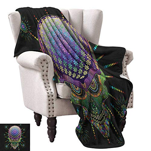 Psychedelic Home Throw Blanket Digital Mexican Sugar Skull Festive Ceremony Halloween Ornate Effects Design Ultra Soft and Warm Hypoallergenic 70