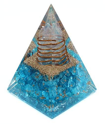 Orgone Pyramid – Emotional Healing Aquamarine Nubian Orgonite Pyramid for – Emf Protection Meditation Orgone Energy Generator - Anti Aging Crystal Yoga Self Relief