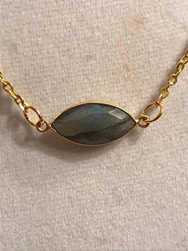 Labradorite Marquis and Gold Necklace * Minimalist Gemstone Necklace * Stunning Gemstone Jewelry * Labradorite - Marquis Labradorite