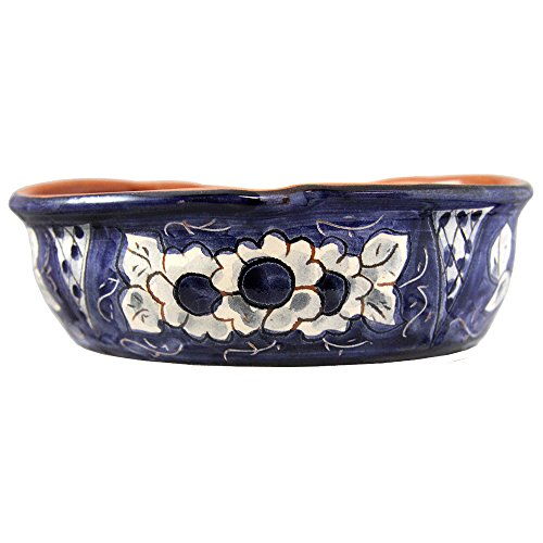 Hand Painted Vintage Traditional Portuguese Terracotta Olive Dish (Big, Blue And White) by Olaria Pirraça (Image #1)