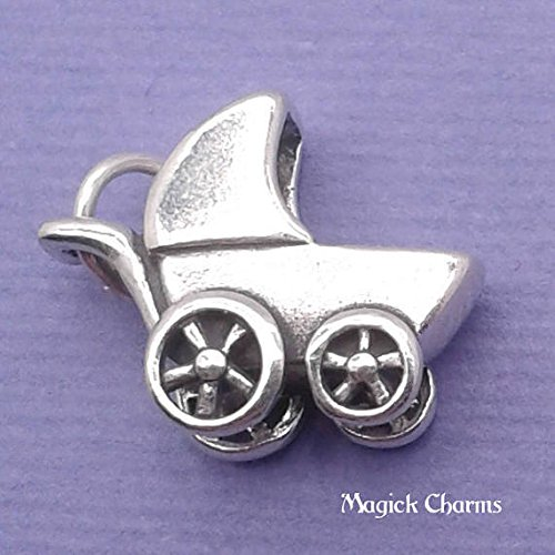 925 Sterling Silver 3-D Baby Carriage Buggy Charm Pendant Jewelry Making Supply, Pendant, Charms, Bracelet, DIY Crafting by Wholesale Charms