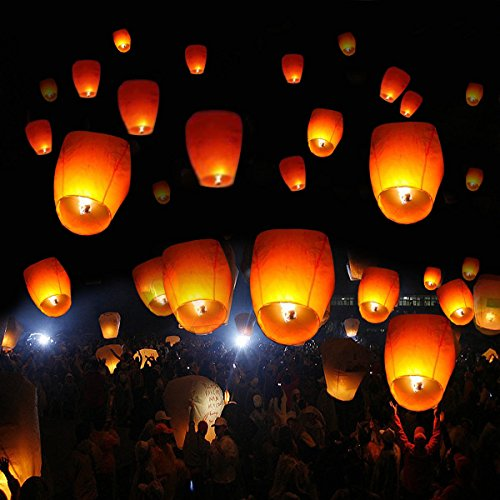 UBRTools New 50 White Paper Chinese Lanterns Sky Fire Fly Candle Lamp Wish Party Wedding by UBRTools