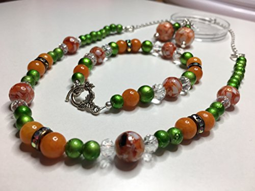 - Thanksgiving Jewelry Set, Pumpkin Necklace, Bracelet and Earrings