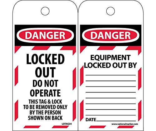 LOTAG34ST250 Polytag National Marker Tags, Lockout, Danger, LOCKED Out Do Not Operate, 6 Inches x 3 Inches, Polytag, Box of 250