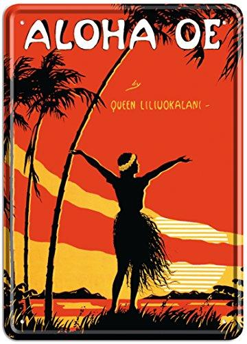 Aloha Oe (Queen Liliuokalani) Music Sheet by LeMorgan - Tin Sign Postcard - Vintage Hawaiian Style