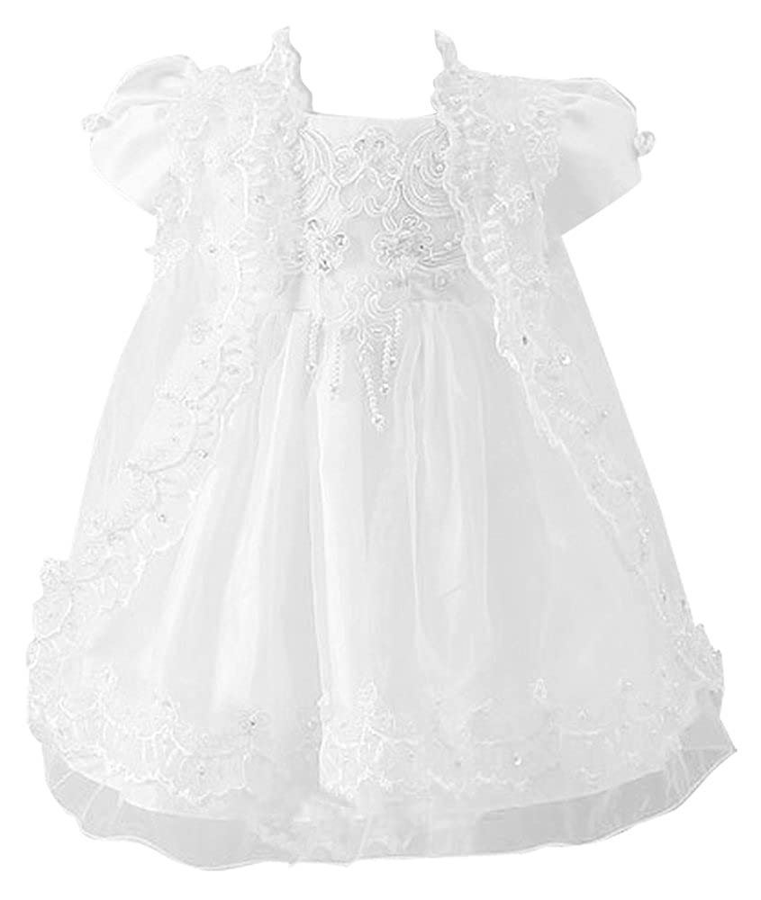 Shiny Toddler Toddler Little Girl Three-Pieces Baptism Dress White