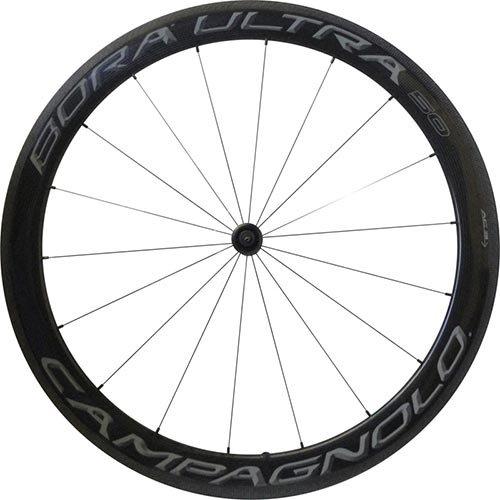 Campagnolo Bora Ultra 50 Dark Tubular Bicycle Wheel Set - 700C, F: 18, R: 21 spokes, QR, F: 100, R: 130, Campagnolo - (Campagnolo Bicycle Wheels)