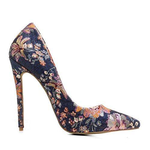 0da0f966 GAIHU mujer sexy señoras Stiletto zapatos con tacón de aguja cerrada  bordada señaló Toe bombas inteligentes