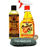 Howard Feed N Wax Wood Polish and Conditioner, and Howard Orange Oil Wood Polish, Wood Furniture Cleaner and Teak Wood Cleaner