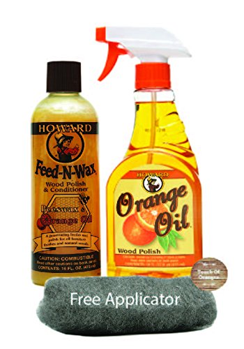 (Howard Feed N Wax Wood Polish and Conditioner, and Howard Orange Oil Wood Polish, Wood Furniture Cleaner and Teak Wood Cleaner)