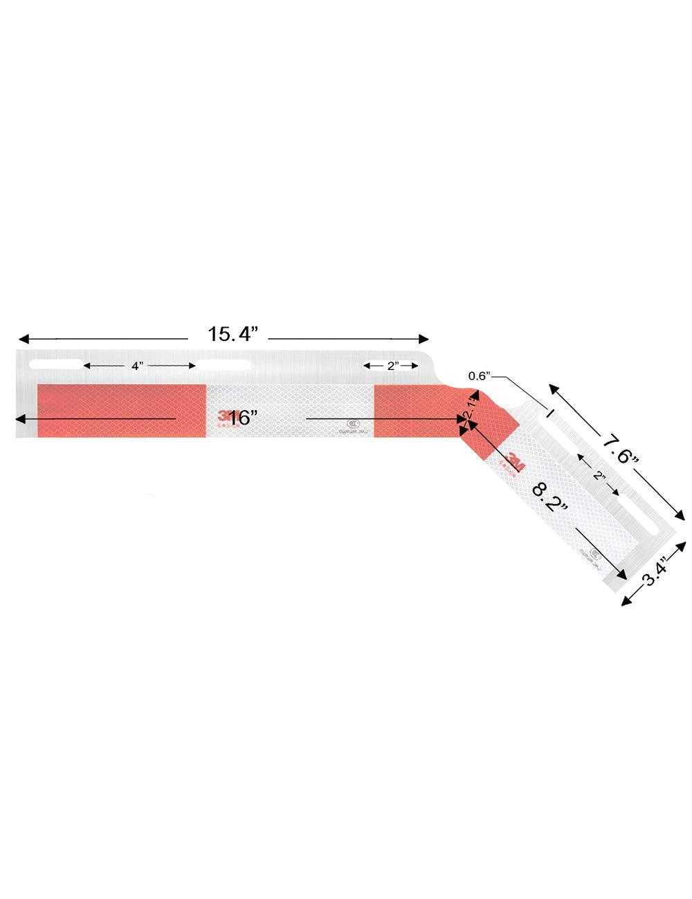 TRUCK FAIRINGS COM Mud Flap Hanger 3M Reflector 45-Degree 1 Pair 2pc
