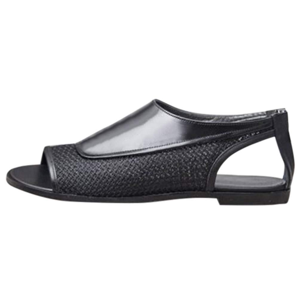 Amazon.com: COPPEN Womens Fashion Flat Splice Zipper Shoe Open Toe Ankle Pumps Bottom Roman Sandals: Clothing