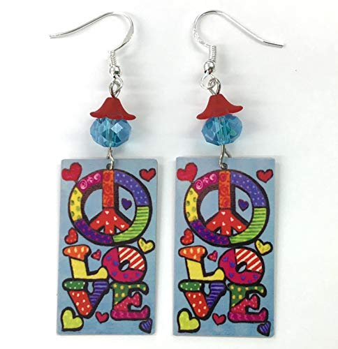 Mod Hippie Dress - Mod Earrings, 1970's Retro, 6 Cool Designs to Choose From, Sterling Silver, Metal, Designed by Artist, Handmade, Flowers, Peace Sign, Love, Ships Free
