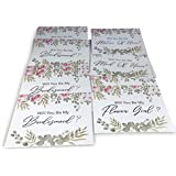 Bridesmaid Proposal Cards (Set of 16) Includes Envelopes. 10 Will You Be My Bridesmaids, 2 for Matron of Honor, 2 for Maid of Honor & 2 for Flower Girls. Watercolor Flower Style Cards for Asking Brid