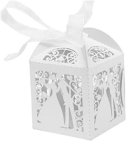 Amazon Segnaposto Matrimonio.Jzk 50 Perlato Bianco Sposa Sposo Scatolina Portaconfetti Scatola