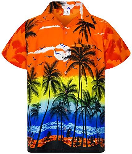 - King Kameha Funky Hawaiian Shirt, Shortsleeve, Beach, Orange, M