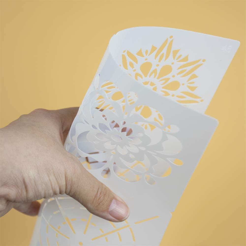 Reutilizable Plantillas Mandala para la pared pintar paredes Mobiliario decoraci/ón,pintar dibujo mandalas para Ni/ños y adultos 56pcs 56 Piezas Mandalas Plantillas