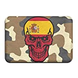 Spain Flag Skull Indoor Outdoor Entrance Rug Non Slip Standing Mat Doormat Rugs Home
